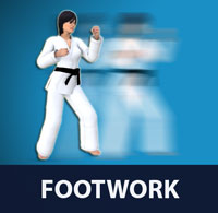 Footwork involves keeping balance, closing or furthering the distance, controlling spatial positioning, and/or creating additional momentum for strikes