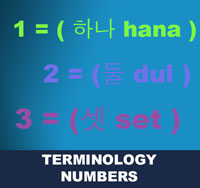 Korean numerals may be used as prompts or commands. Often, students count in Korean during their class