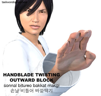Hand Blade Twisting Outward Block ( 손날 비틀어 바깥막기 Sonnal bitureo bakkat makgi )