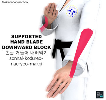 Hand Blade Supporting Low Block (sonnal kodureo naeryeo makgi)