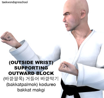 (Outside Wrist) Supporting Outward Block ( (바깥팔목) 거들어 바깥막기 (bakkatpalmok) kodureo bakkat makgi )