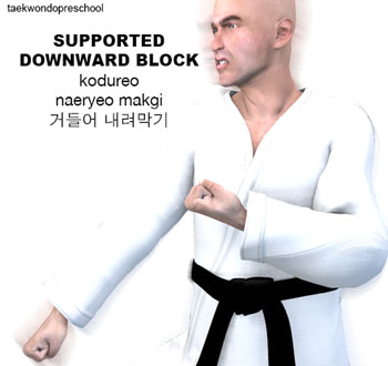 Supported Downward Blocking ( 거들어 내려막기 kodureo naeryeo makgi )