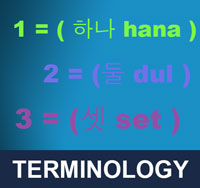 In taekwondo, Korean language is often used. During tests practitioners are usually asked what certain Korean words used in class mean