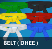Around the dobok a dhee or ti (belt) is worn. The colour of the belt denotes the rank or grade of the wearer