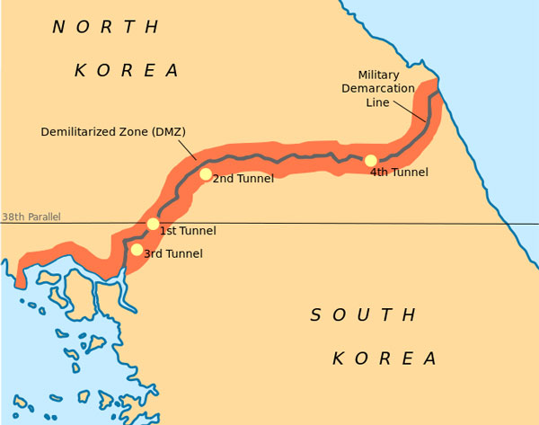 The Korean peninsula, first divided along the 38th parallel, later along the demarcation line.