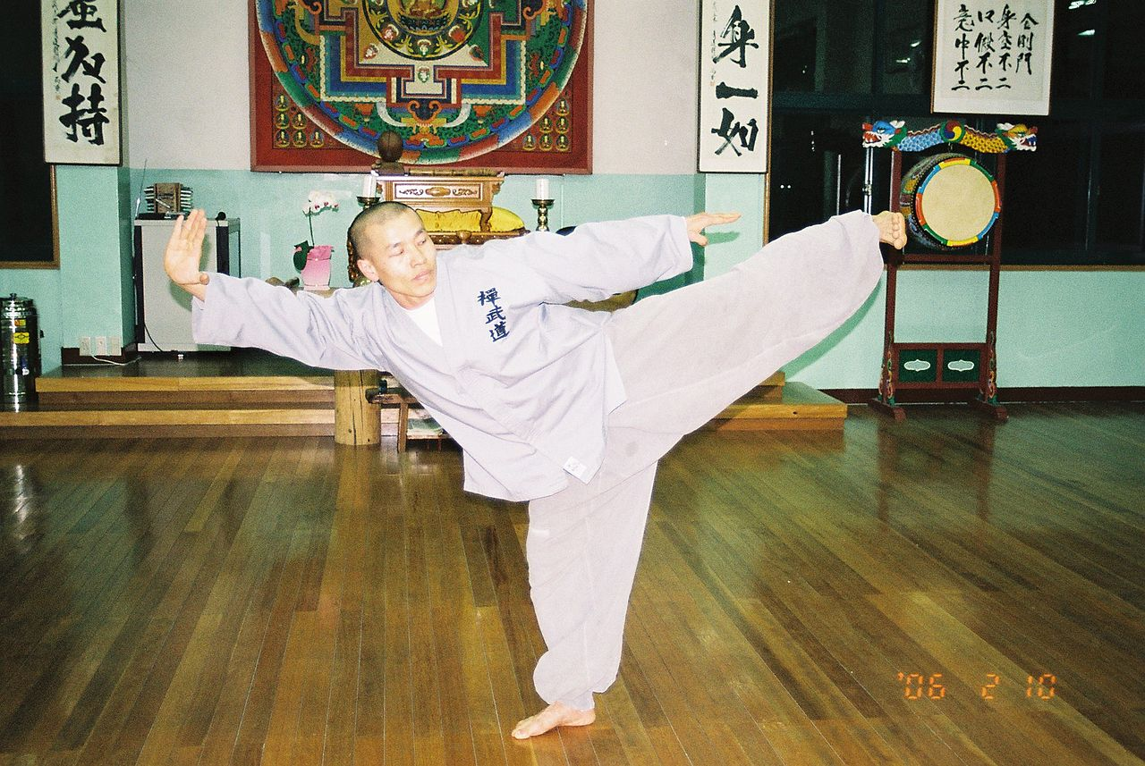 Monk named Chul-An practices a Poomse in Sunmudo Training Hall