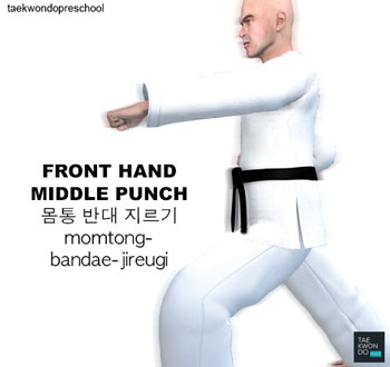 Front Hand Middle Punch ( 몸통 반대 지르기 momtong-bandae-jireugi )